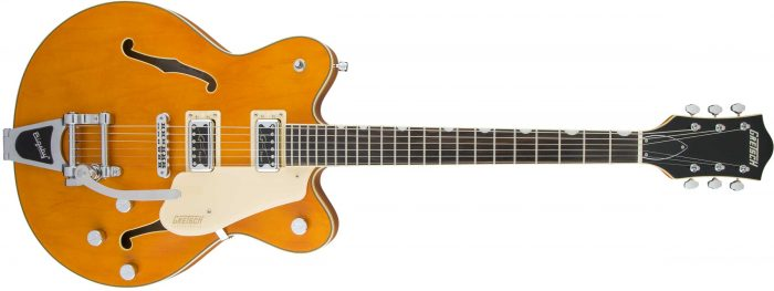 2509300520 gtr frt 001 rr 700x263 - Gretsch G5622T-CB Electromatic Center-Block Double-Cut with Bigsby. Vintage Orange.