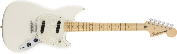 Fender Mustang White 700x214 - Fender Mustang - Maple / Olympic White