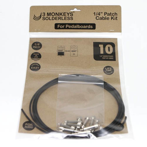 solderless patch cable 1 - 3 MONKEYS 1/4″ PEDALBOARD PATCH CABLE KIT