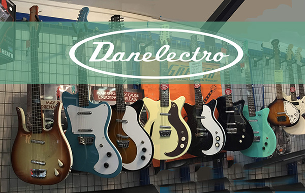 danelectro banner - Danelectro 56 Baritone (Bottle Headstock) Black Metal Flake