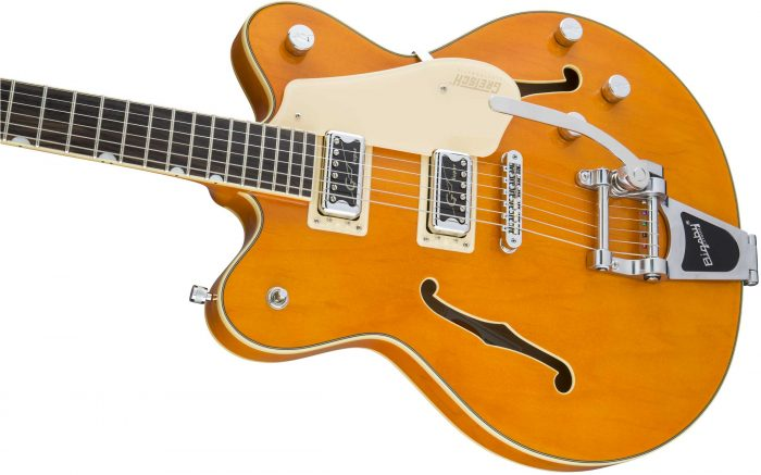 2509300520 gtr cntbdyleft 001 nr 700x437 - Gretsch G5622T-CB Electromatic Center-Block Double-Cut with Bigsby. Vintage Orange.