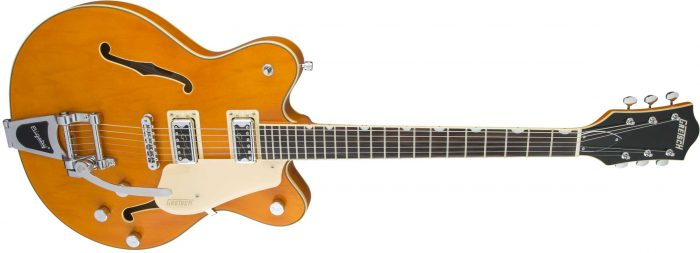 G5622TCBDC gtr frtangleright 001 700x253 - Gretsch G5622T-CB Electromatic Center-Block Double-Cut with Bigsby. Vintage Orange.