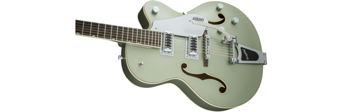 Gretsch G5420T Aspen Green gtr cntbdyleft 001 nr 700x228 - Gretsch G5420T Electromatic Single Cutaway Hollow Body Electric Guitar with Bigsby - Aspen Green