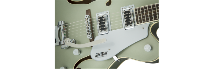 Gretsch G5420T Aspen Green gtr frtbdydtl 001 nr 700x228 - Gretsch G5420T Electromatic Single Cutaway Hollow Body Electric Guitar with Bigsby - Aspen Green
