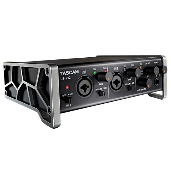 tascam us 2x2 usb audio interface angle - Tascam US-2x2 USB Audio Interface iPad Mac and PC