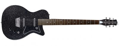 Danelectro 56BAR BKMF 2 - Danelectro 56 Baritone (Bottle Headstock) Black Metal Flake