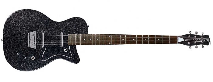 Danelectro 56BAR BKMF 2 700x272 - Danelectro 56 Baritone (Bottle Headstock) Black Metal Flake