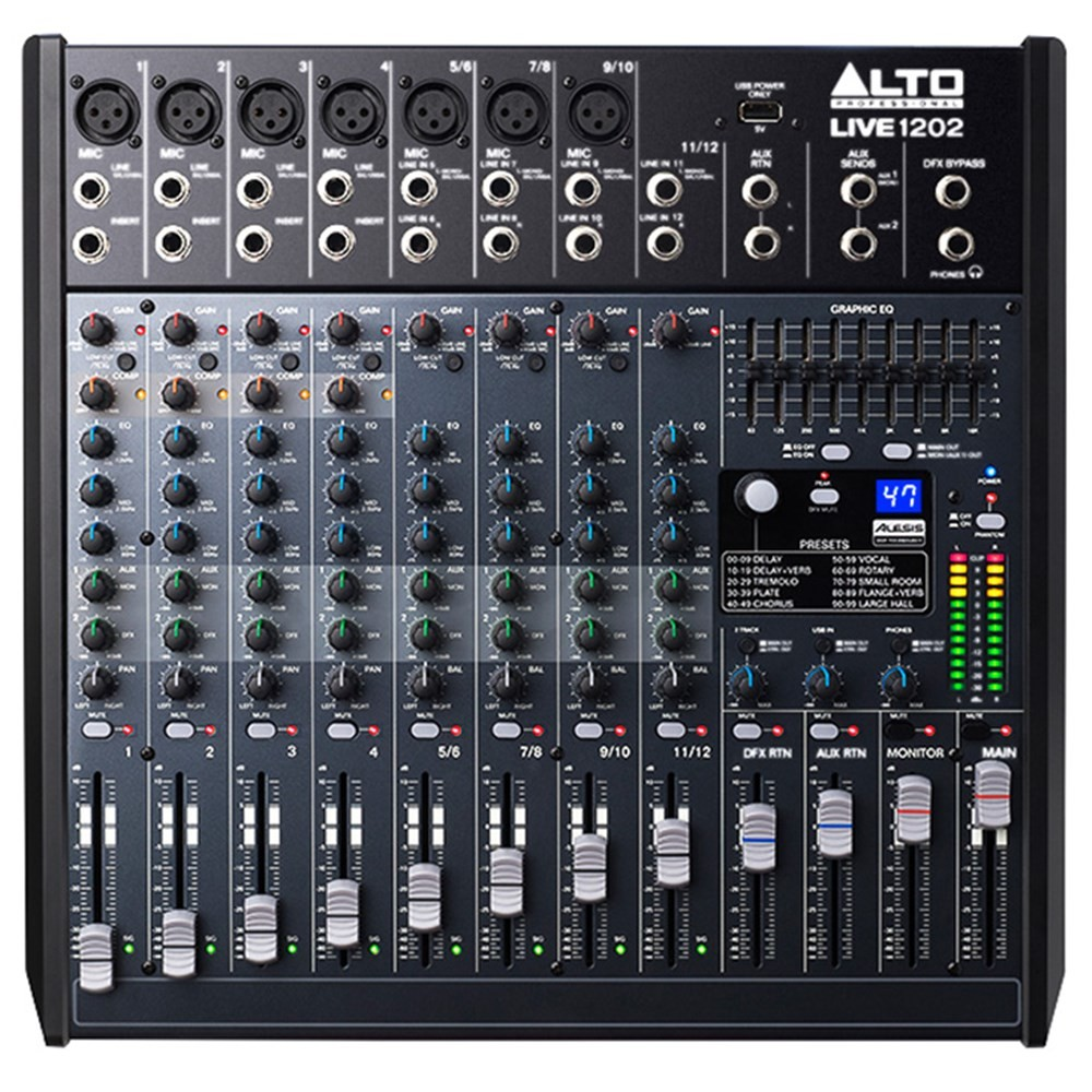 ALT LIVE1202 - 12-channel 2-Bus Mixer with 100 Effects