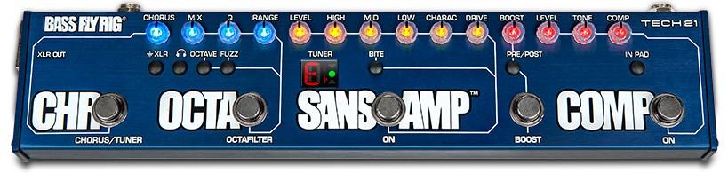 bassflyrig front 2 - Tech21 Bass Fly Rig Sansamp Bass Guitar Multi Pedal