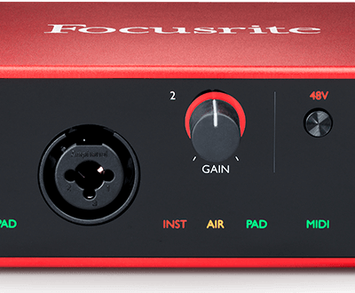 scarlett 4i4 hero 1038 330 400x330 - Focusrite Scarlett 4i4 USB Audio Interface W/Pro Tools First (Gen 3)