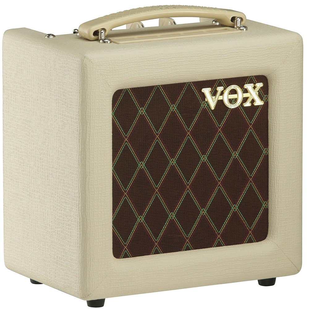 VOX-AC4TV viewed froim the front with classic brown and gold front and cream case