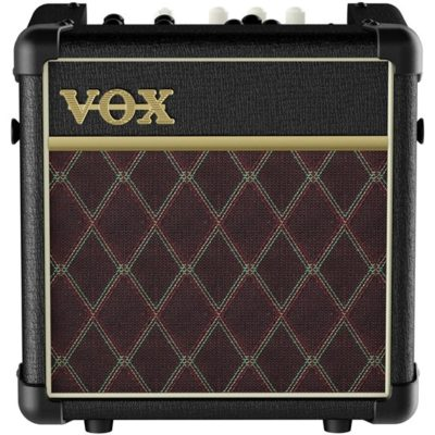 Vox mini5 amp from front on black case with classic brown and gold front