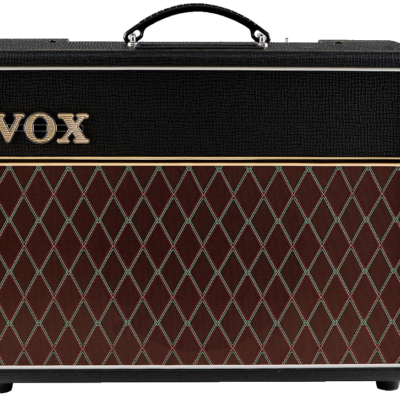 Vox ac10c1 from front on with black case, vox name and brown and gold front