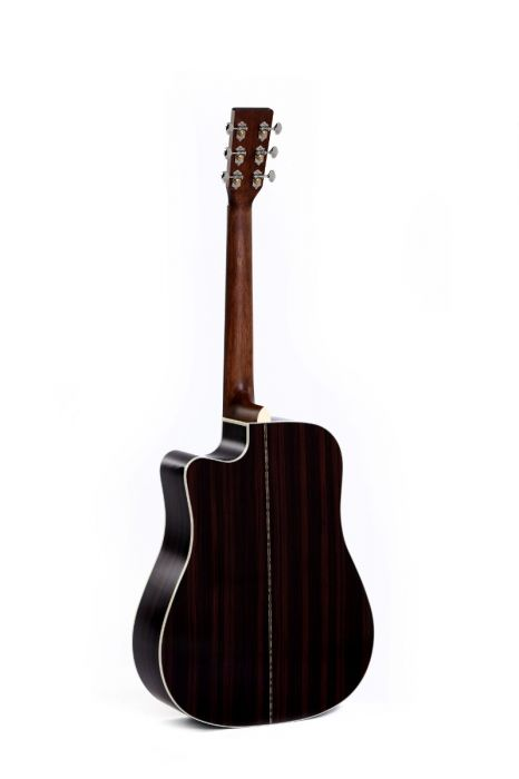 product shot of the front of the dtc28he acoustic guitar from behind