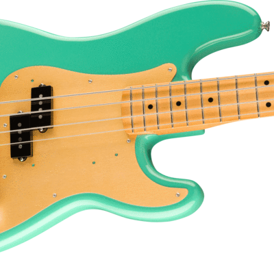 body of fender vintera precision bass in seafoam green