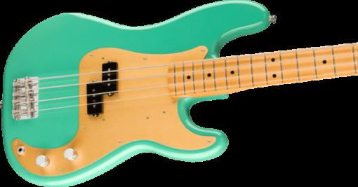 body of fender vintera precision bass in seafoam green