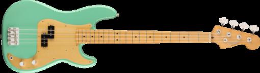 front of fender vintera precision bass in seafoam green